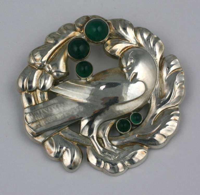 Georg jensen bird brooch with crysophrases for sale at 1stdibs for Minimal art jewelry
