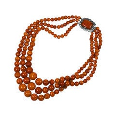 3 Strand Amber Bead Deco Necklace