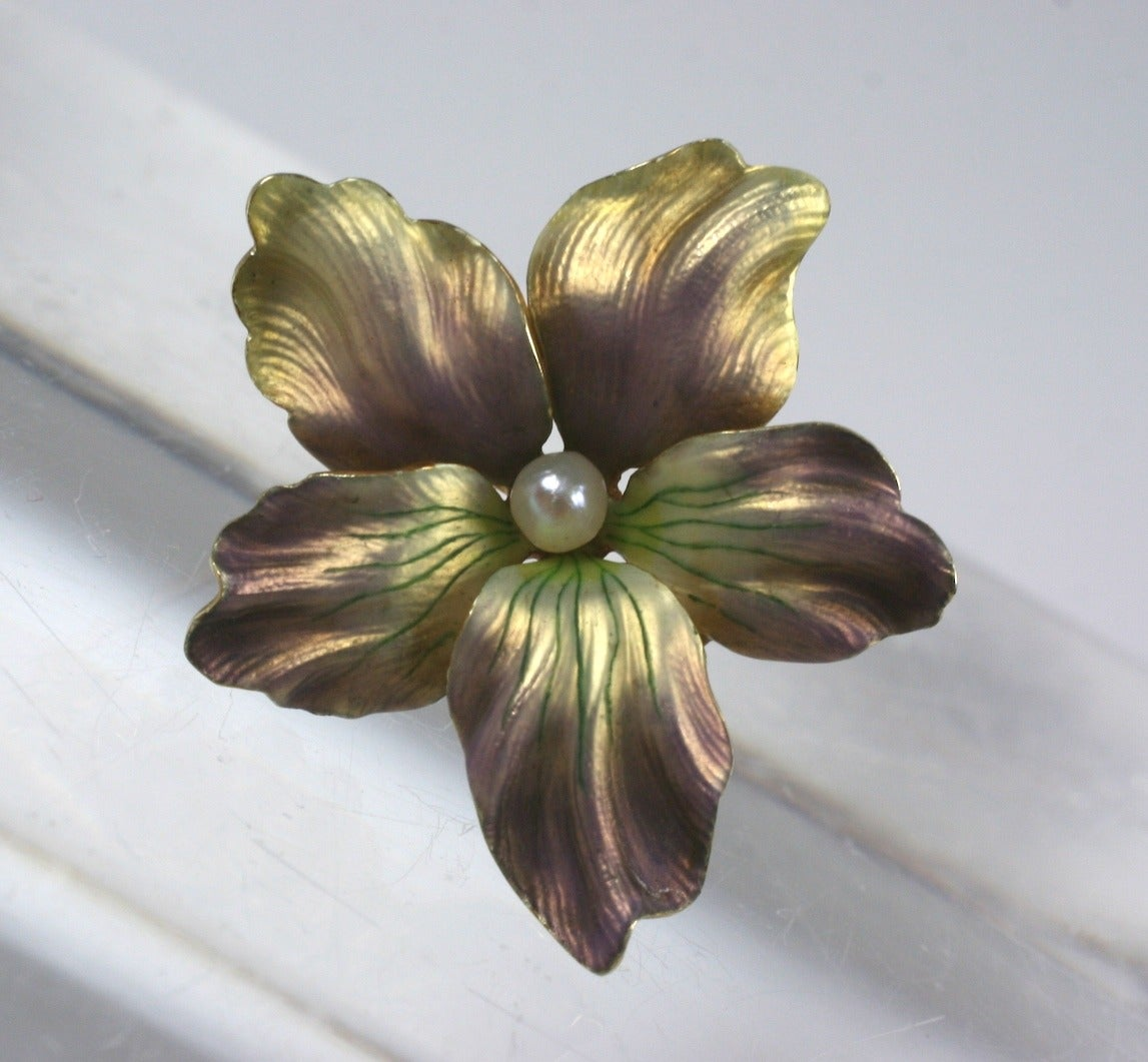 Victorian 14kt & Purple Enamel Flower Pin w/ Diamond - A