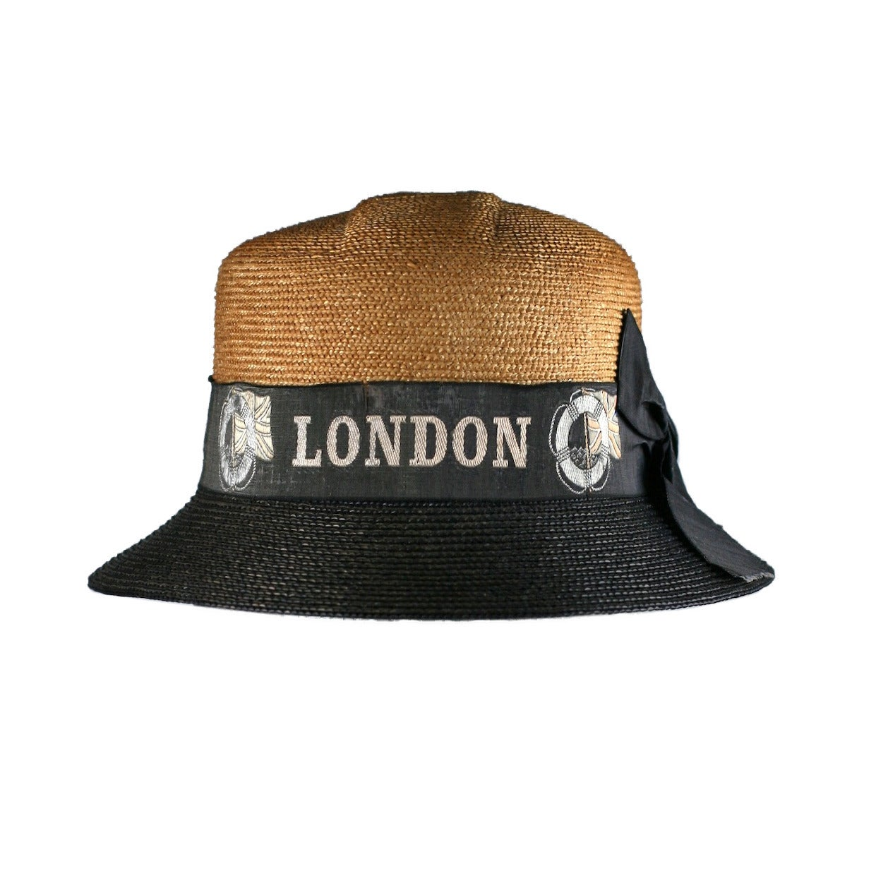 "Early 2 Toned Straw Hat, ""London"", Hudson Bay Co. For Sale"