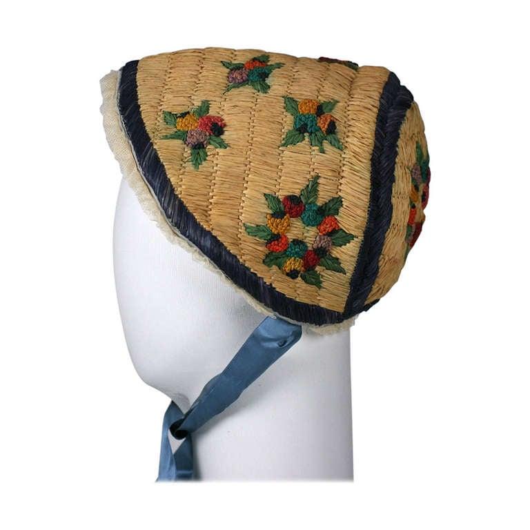 Poiret Directoire Style Raffia Bonnet