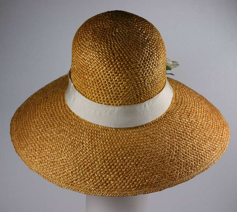 Brown Madame Paulette  Haute Couture  Straw Hat For Sale