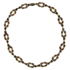 Sterling Retro 2 Toned Knot Necklace