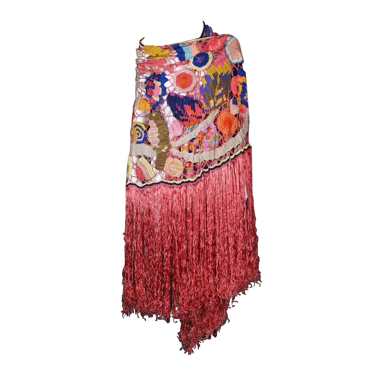 Amazing Austrian Secessionist Hand Crochet Shawl 1