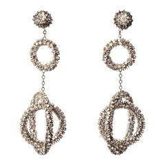 Miriam Haskell Long Diamante Gyroscope Hoop Earrings