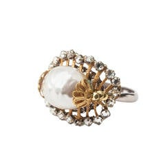 Miriam Haskell Pearl and Rose Montees Ring