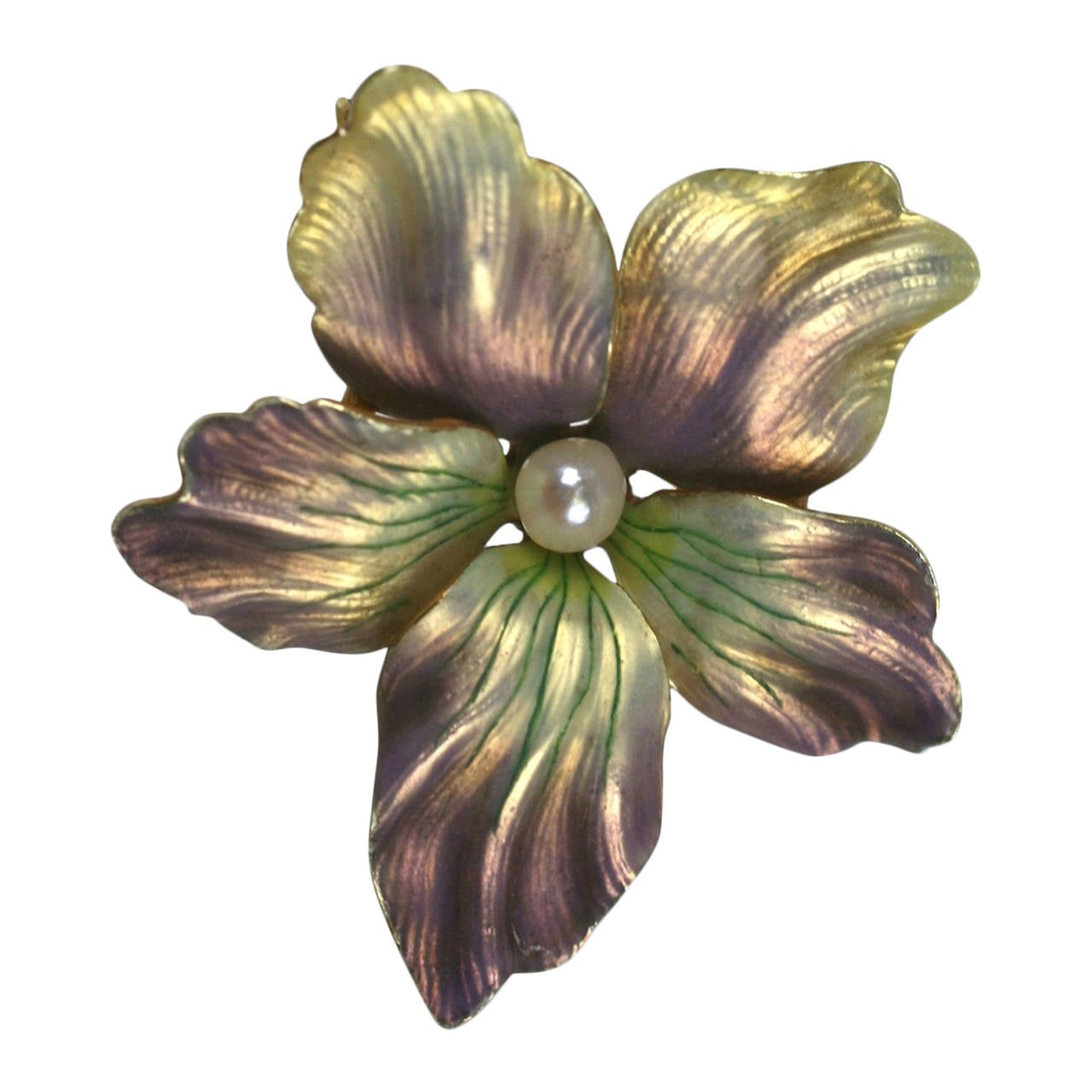 Vintage Gold Tone Flower and Leaf Brooch Pin with Large