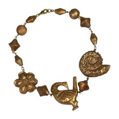 Kenzo Carved and Gilded Figural Necklace