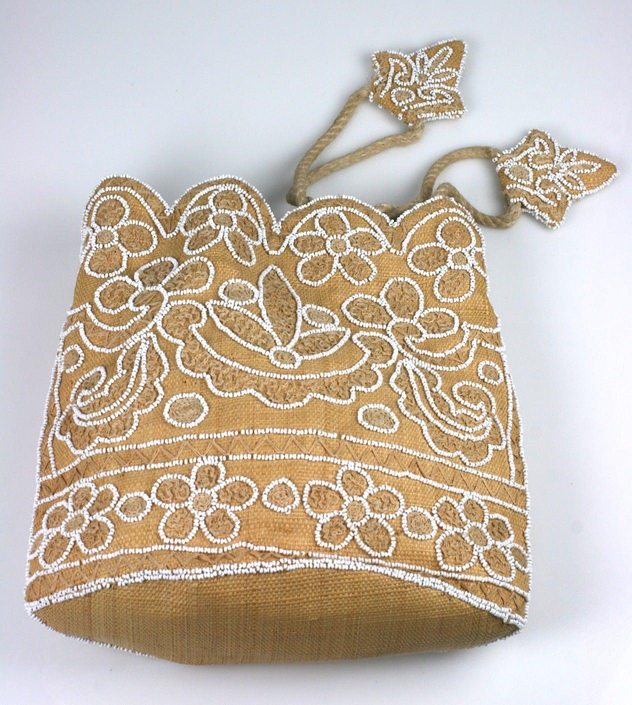 Brown Chalk Beaded Raffia Bag For Sale