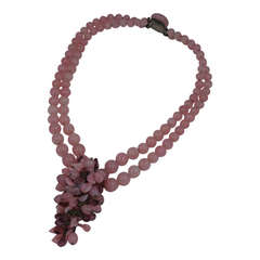Louis Rousselet Pink Amythest Pate de Verre Necklace