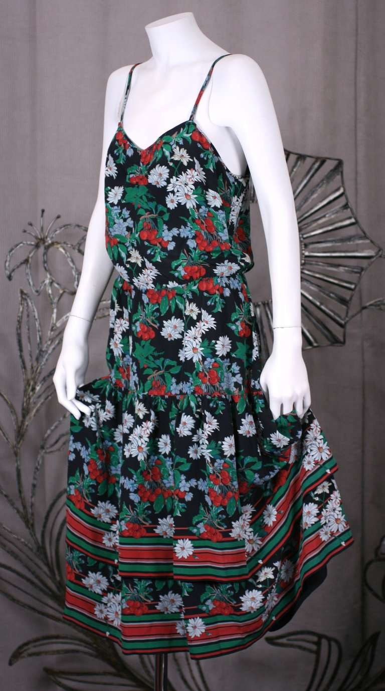 Italian Silk Crepe Cherry Print Dress 2