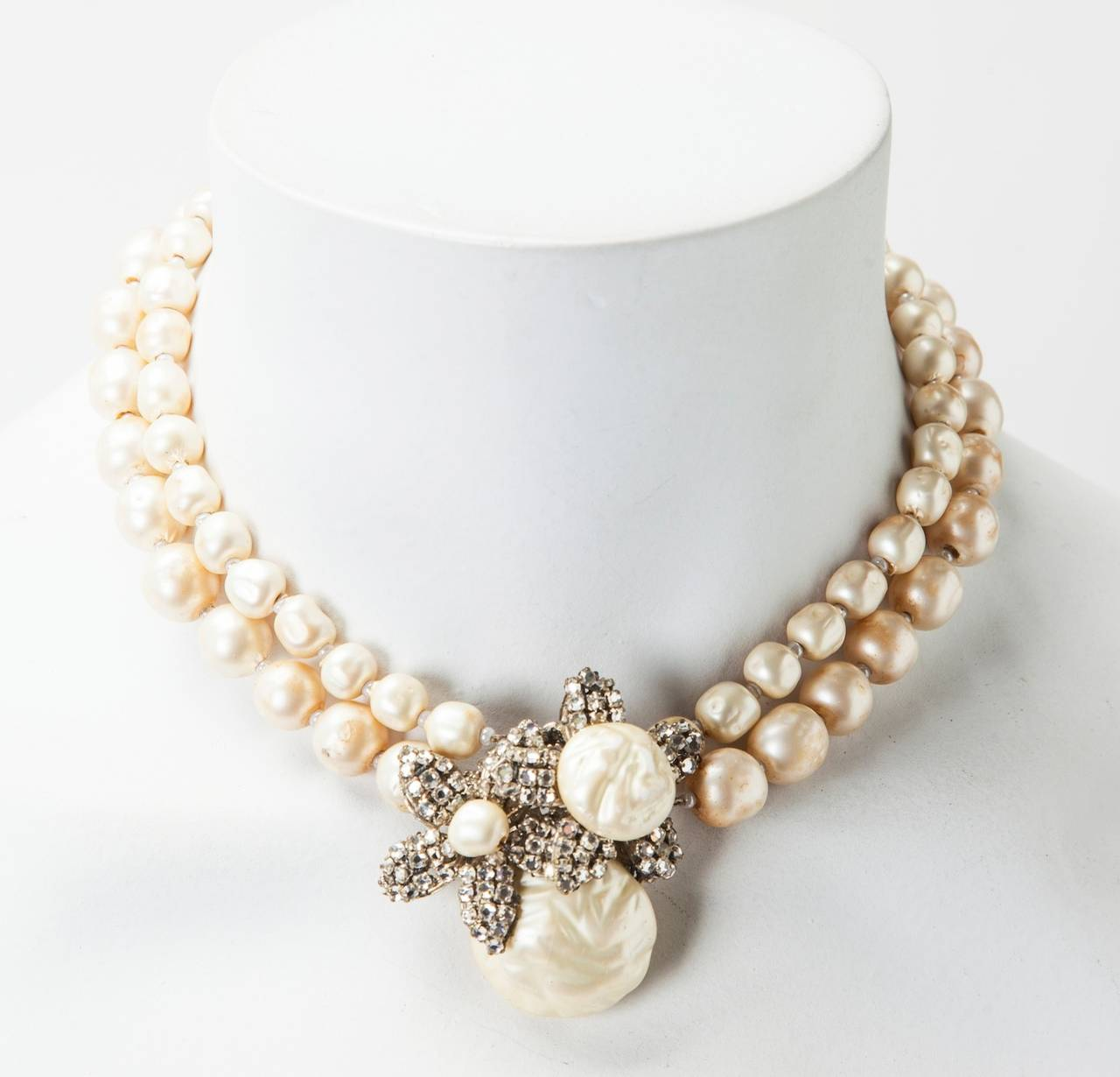 Women's Miriam Haskell Classic Freshwater Baroque Pearl Necklace For Sale