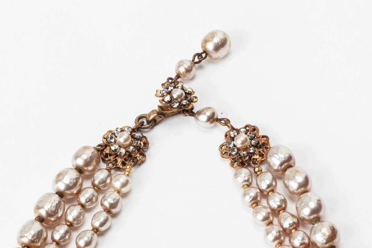 Miriam Haskell Classic Baroque Pearl Necklace In Excellent Condition For Sale In Riverdale, NY