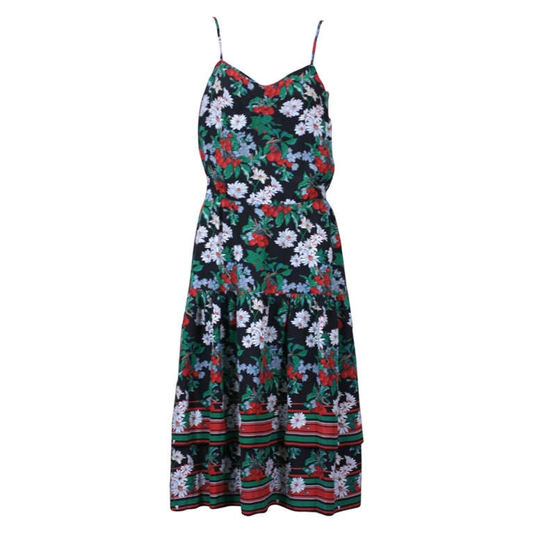 Italian Silk Crepe Cherry Print Dress At 1stdibs