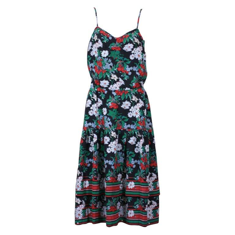 Italian Silk Crepe Cherry Print Dress 1