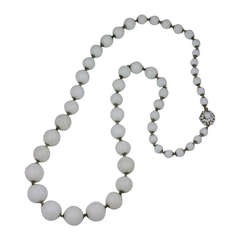 Miriam Haskell Milk Glass Graduated Bead Long Necklace