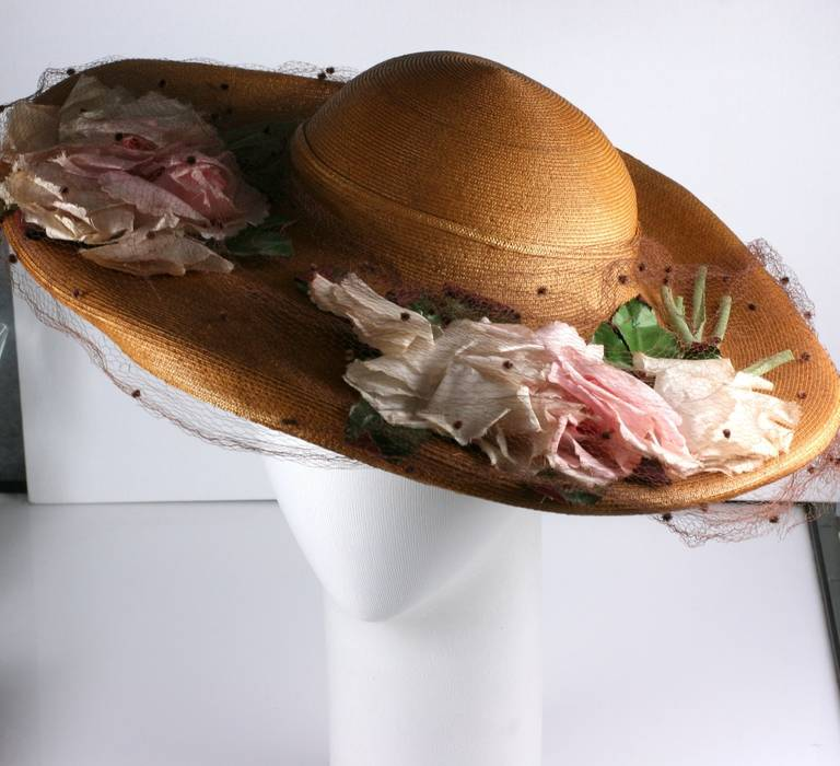Women's Antique Straw Hat with Silk Roses For Sale