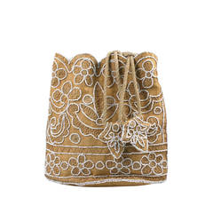 Chalk Beaded Raffia Bag