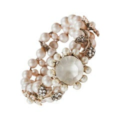 Miriam Haskell Pearl and Diamante Bracelet
