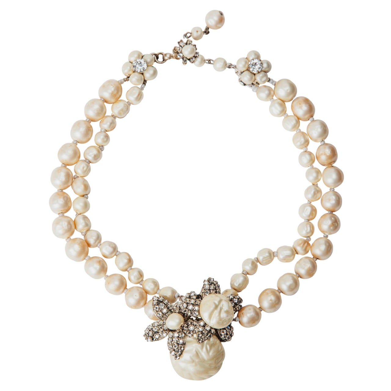 Miriam Haskell Classic Freshwater Baroque Pearl Necklace For Sale