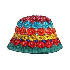 Italian Floral Raffia Bucket Hat