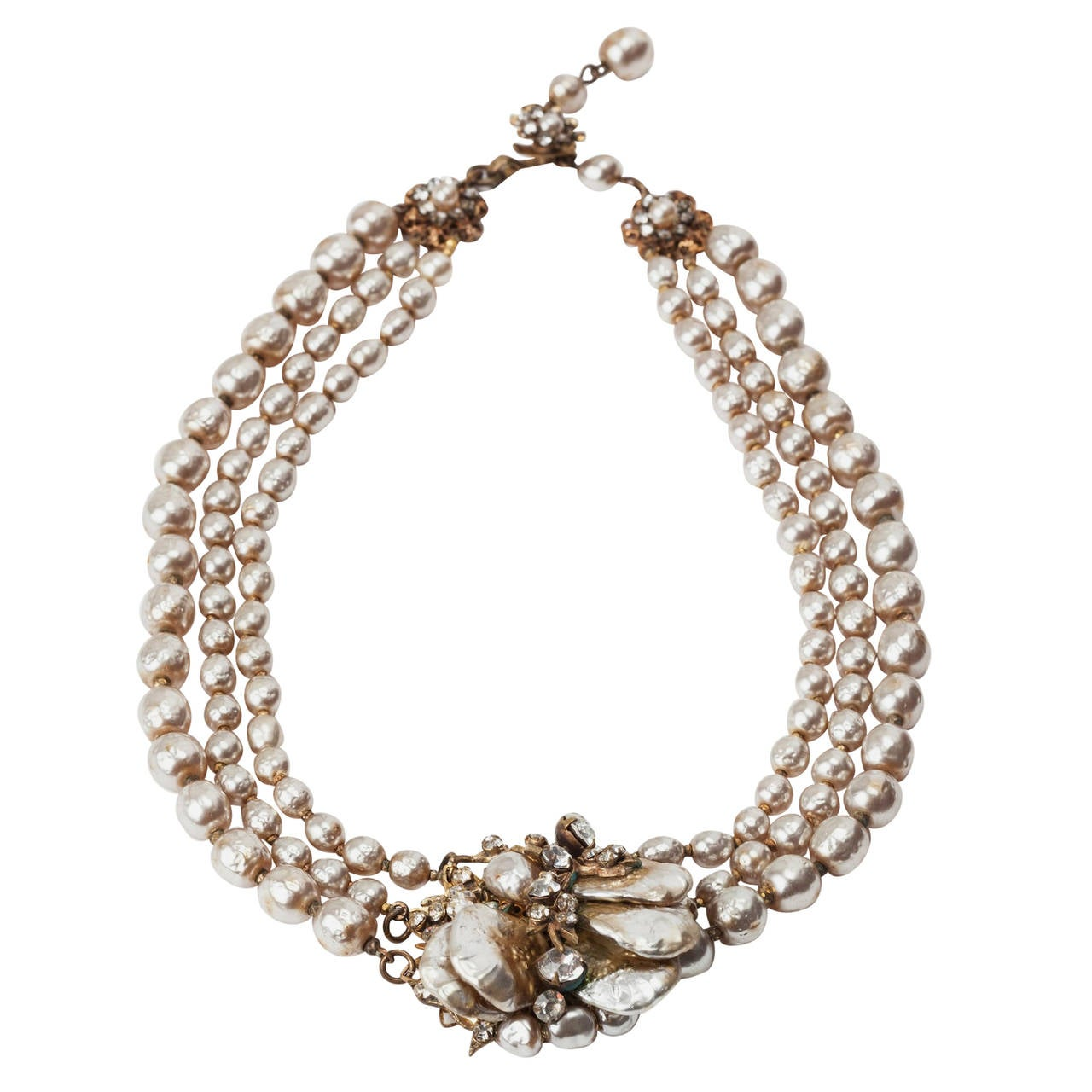 Miriam Haskell Classic Baroque Pearl Necklace For Sale
