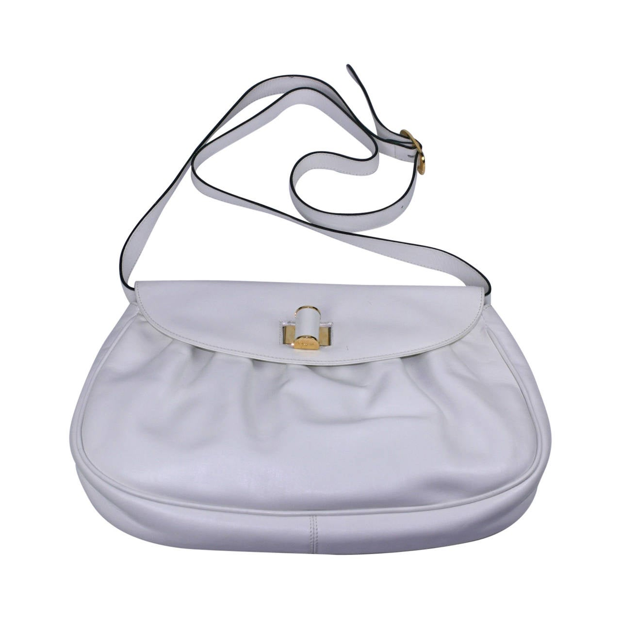 Ferragamo White Calf Shoulder Bag For Sale