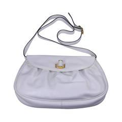 0c54a69865 Ferragamo White Calf Shoulder Bag. Ferragamo Black Calf Leather Gancini  Satchel