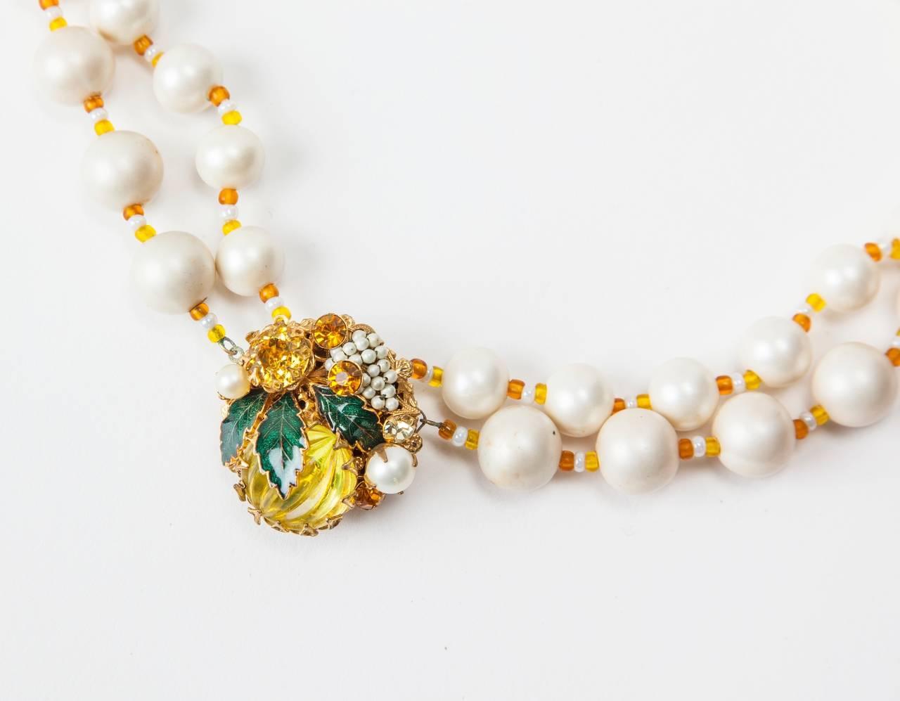 "Miriam Haskell Freshwater Pearl Citrine ""Lemon"" Necklace 4"