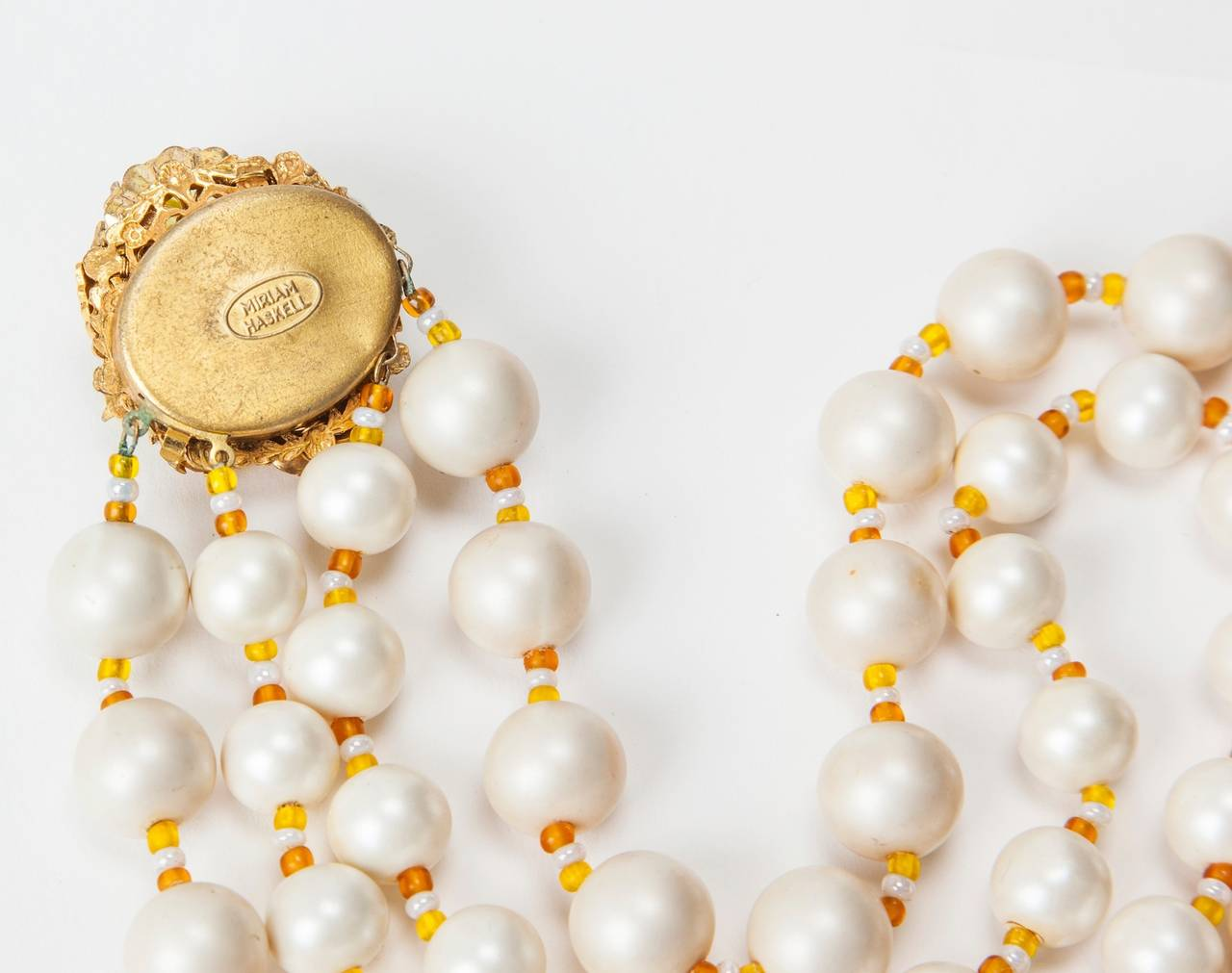 Miriam Haskell Freshwater Pearl Citrine