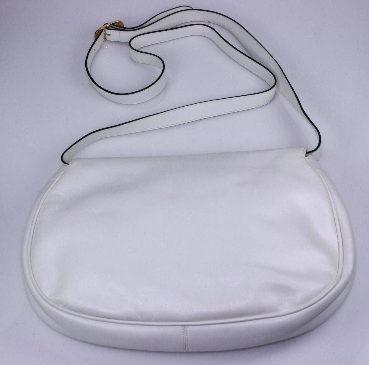 Gray Ferragamo White Calf Shoulder Bag For Sale
