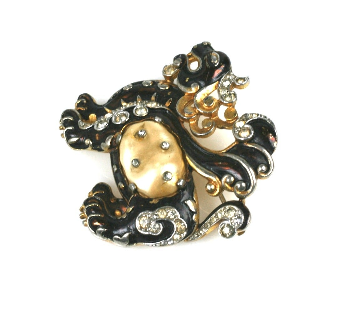 """Early Trifari Ming Dragon by Alfred Phillipe. Black enamel over gold with pave studded """"pearl"""" belly body. From the """"Ming"""" Series, 1940's Trifari.  2"""" x 1.75"""".  Excellent condition."""