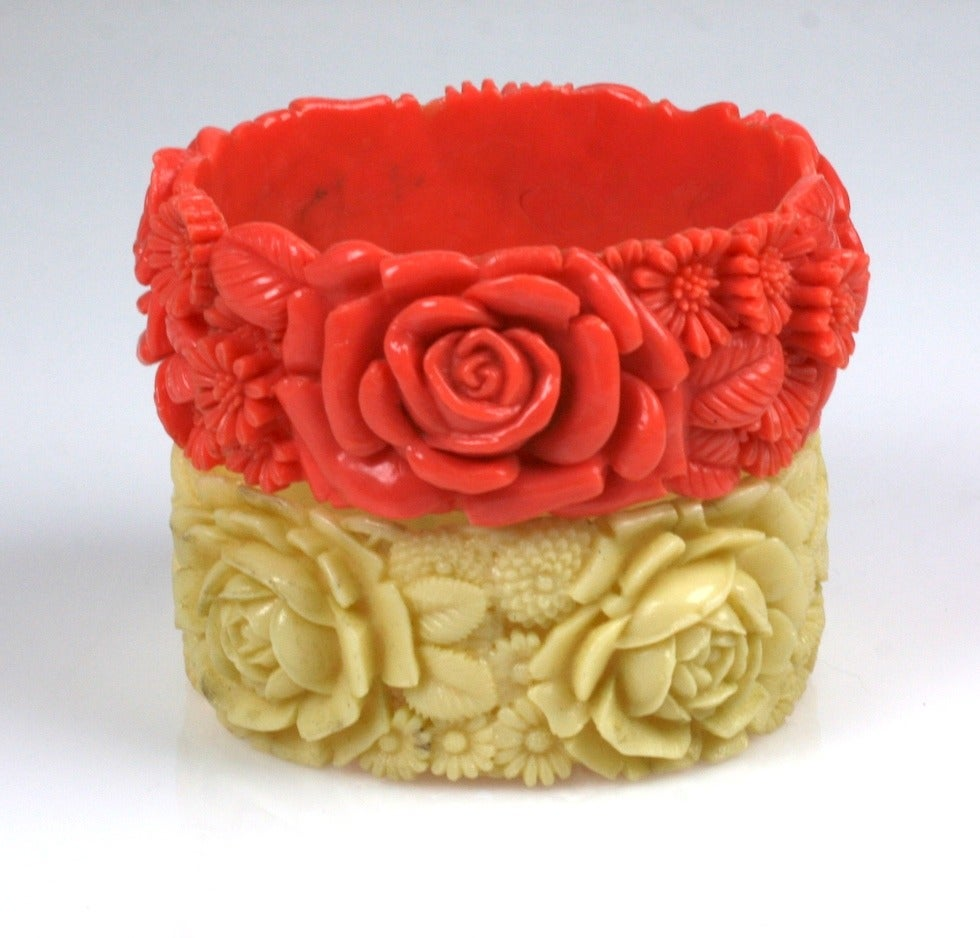 Pair of Deco Celluloid Rose Bangles 2