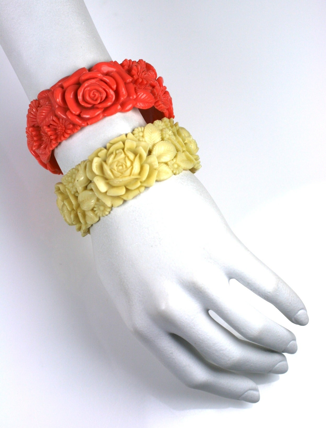 Women's Pair of Deco Celluloid Rose Bangles For Sale