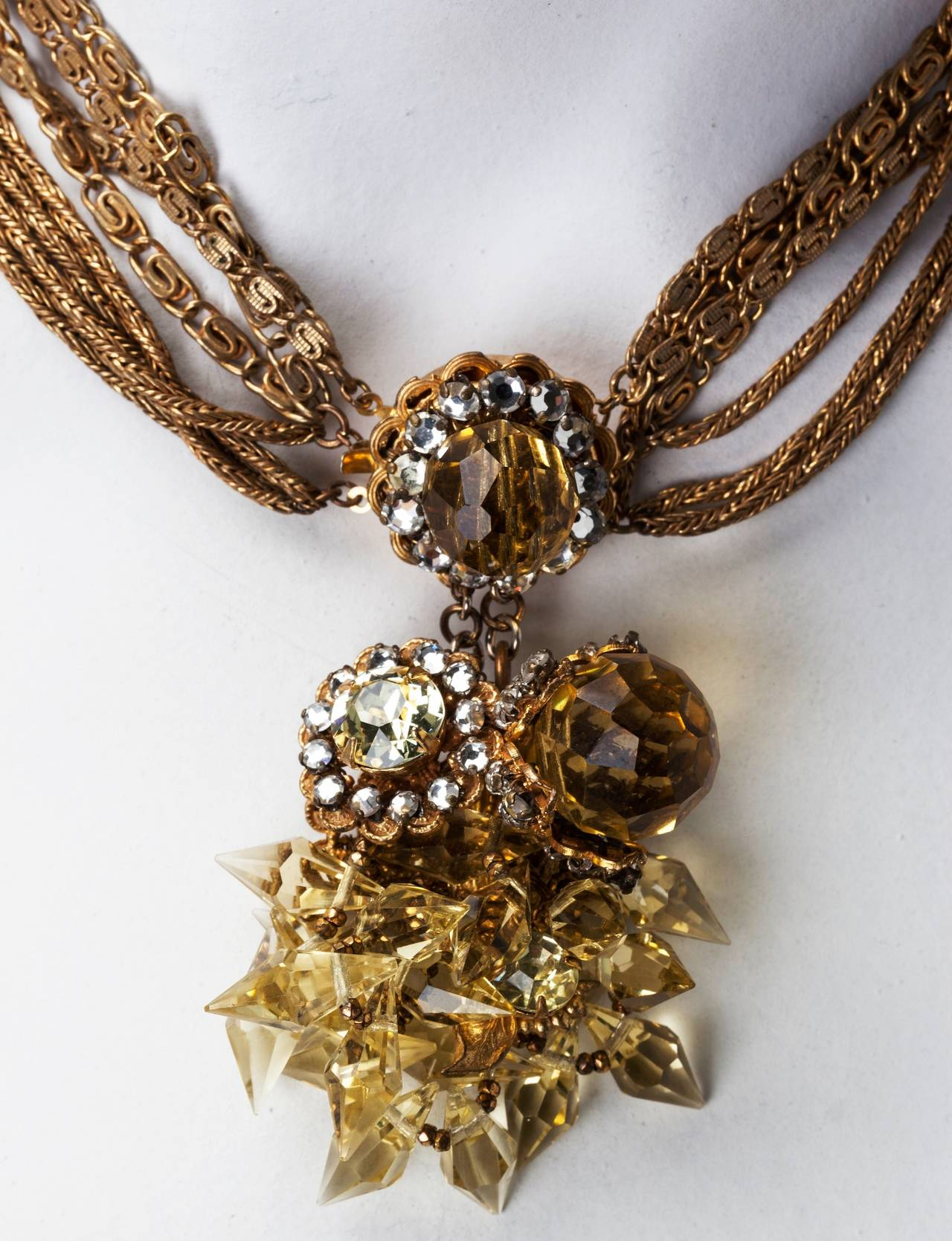 Miriam Haskell Citrine Drop Crystal Necklace In Excellent Condition For Sale In Riverdale, NY