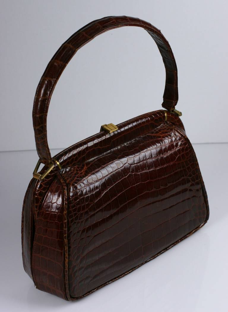 Black Josef Chestnut Center Cut Alligator Bag  For Sale