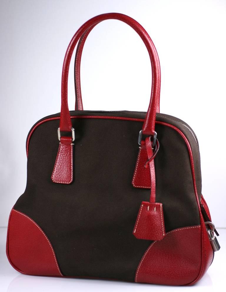 prada tessuto saffiano price - Prada Canvas and Leather Bowling Bag For Sale at 1stdibs
