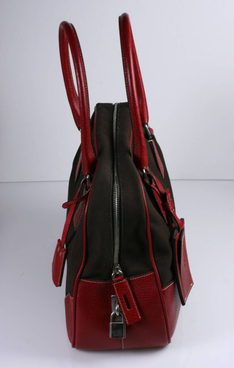 Prada Canvas And Leather Bowling Bag For Sale At 1stdibs