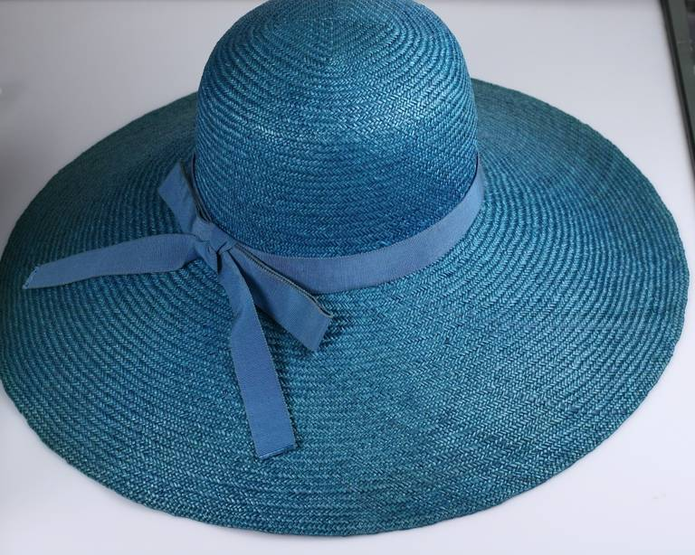 Blue Hubert de Givenchy Straw Hat For Sale