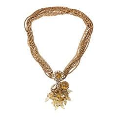 Miriam Haskell Citrine Drop Crystal Necklace
