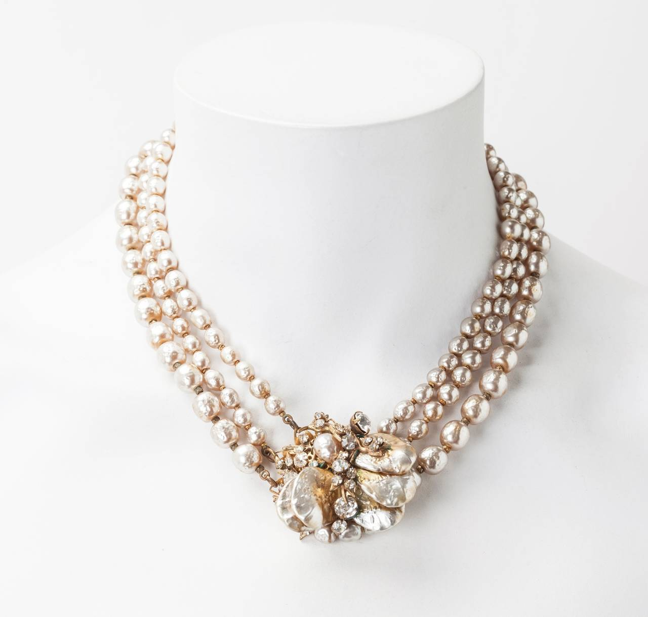 Miriam Haskell Classic Baroque Pearl Necklace For Sale 1