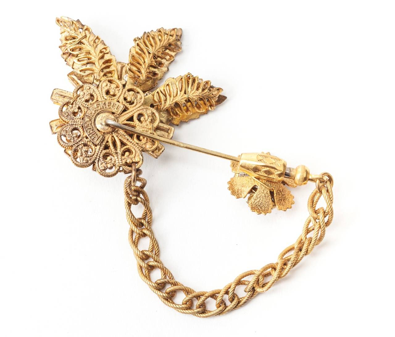 Miriam Haskell Diamante and Pearl Stickpin Brooch In Excellent Condition For Sale In Riverdale, NY
