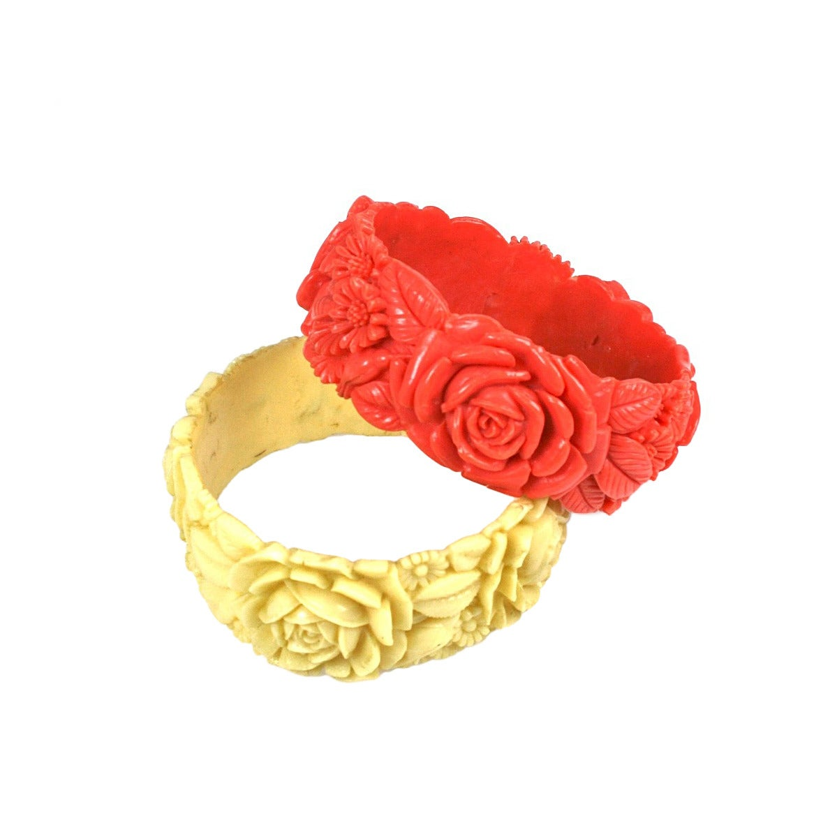 Pair of Deco Celluloid Rose Bangles For Sale