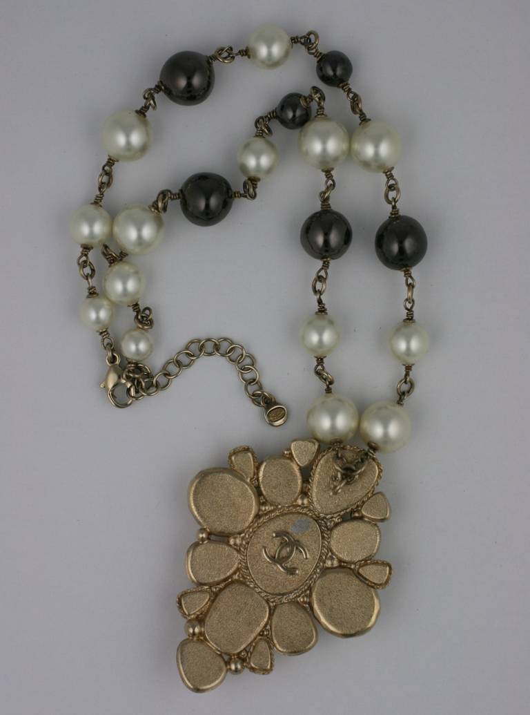 Chanel Pearl and Enamel Pendant 2