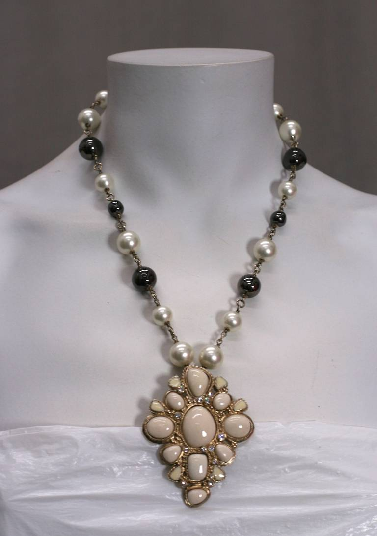 Chanel Pearl and Enamel Pendant 3