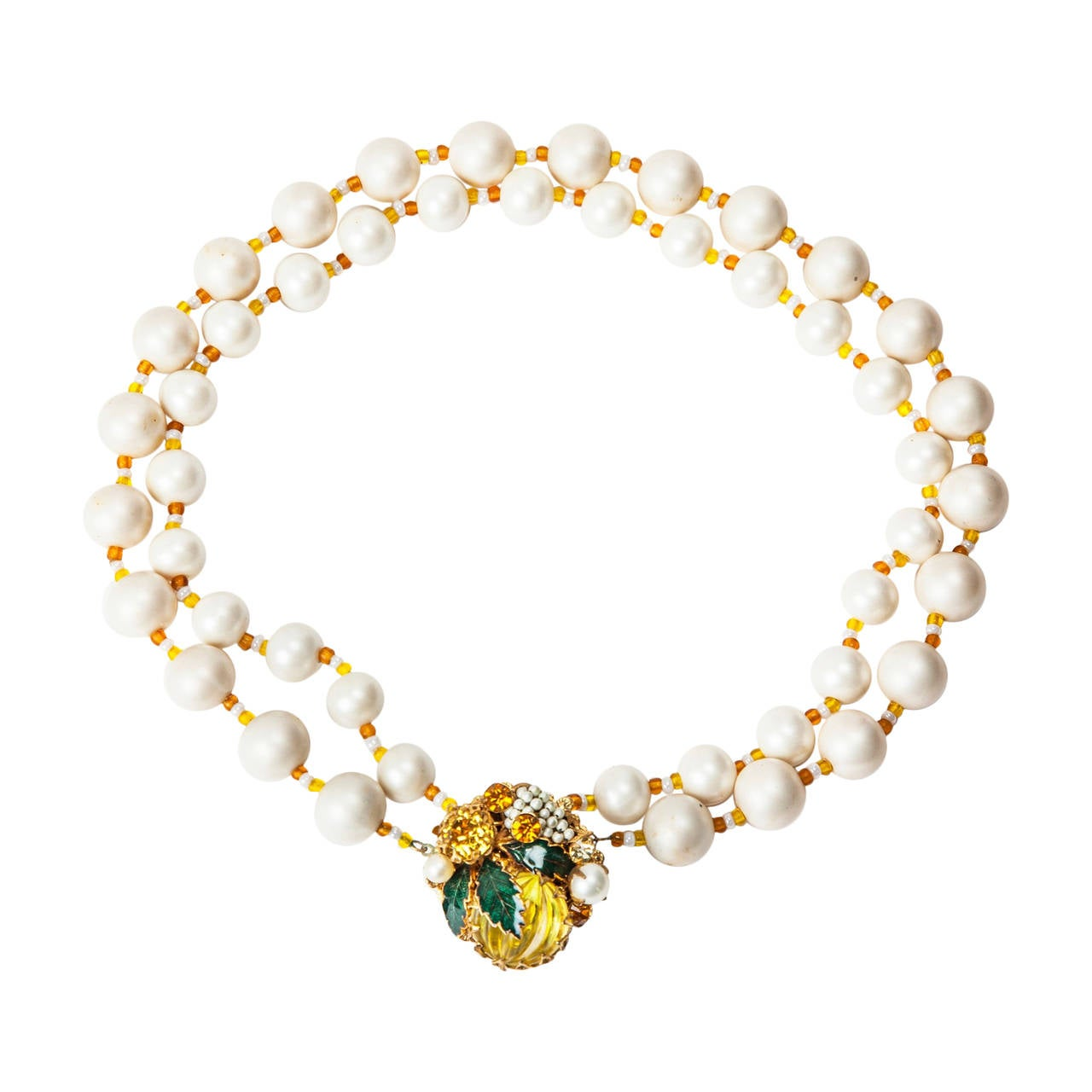 "Miriam Haskell Freshwater Pearl Citrine ""Lemon"" Necklace For Sale"