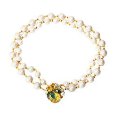 "Miriam Haskell Freshwater Pearl Citrine ""Lemon"" Necklace"