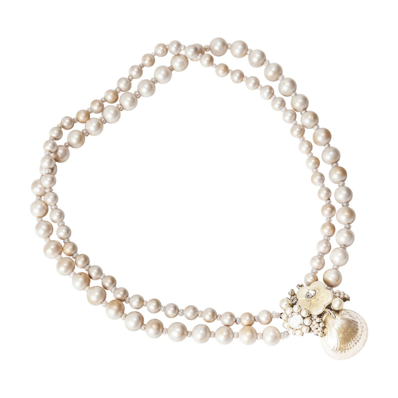 Miriam Haskell Pearl Seashell Necklace For Sale