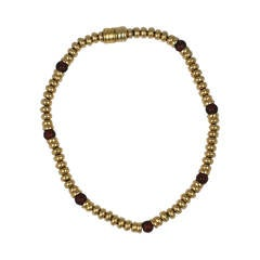 Italian Gold and Ruby Pate de Verre Bead Necklace