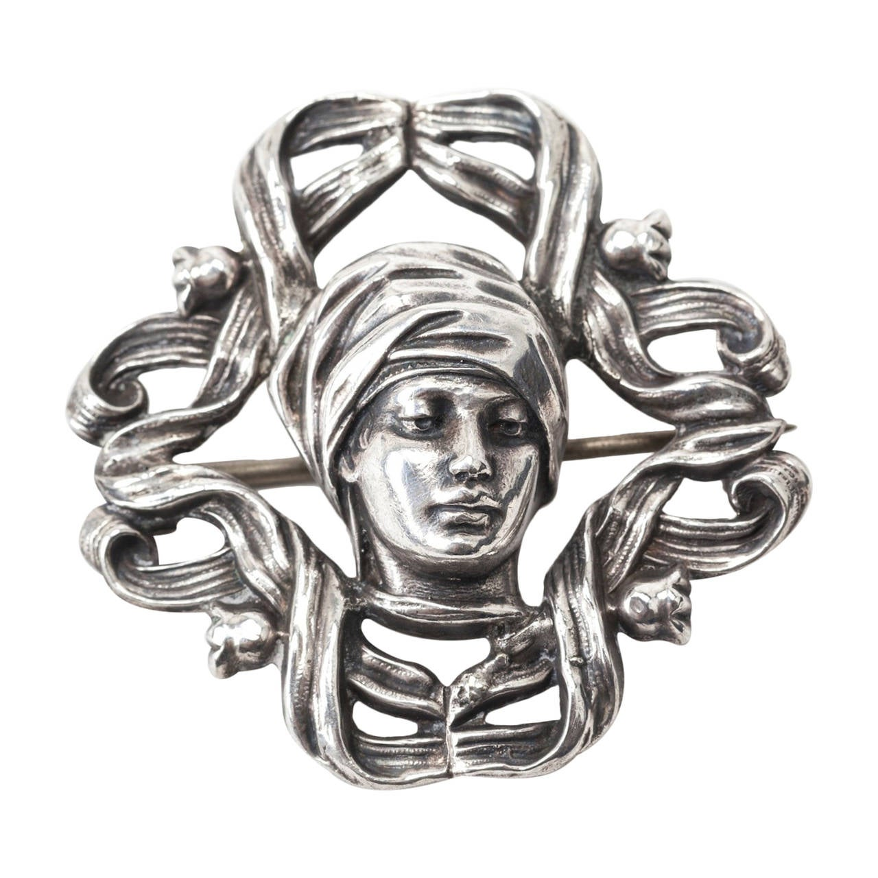 Art Nouveau Maiden Brooch For Sale